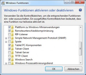 So wird telnet in Windows 7 nachinstalliert